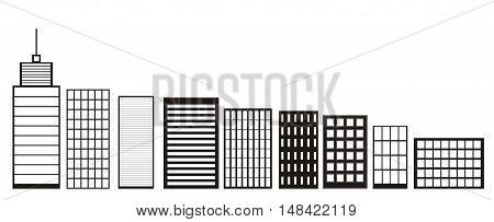 Skyscrapers and Houses, Black and White color Icons Buildings and City skyline icon vector Concept of downtown elements isolated on White Background Town landscapes Flat Style modern logo design