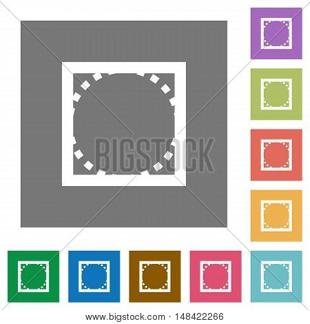 Rounded corners flat icon set on color square background.