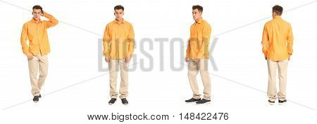 Charming Elegant Man In Yellow Shirt Over White Background