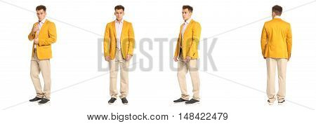 Charming Elegant Man In Yellow Jacket Over White Background