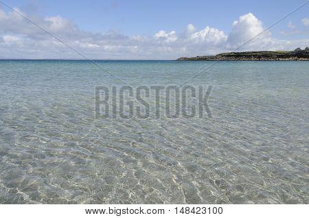 Transparent waters of Kilmurvey Beach in Inishmore the biggest of Aran Islands Galway Bay Ireland Europe