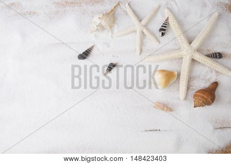 Topview Summer Background. Sand Beach With A Lot Of Seashells And Starfish. Vintage Tone, Retro Filt