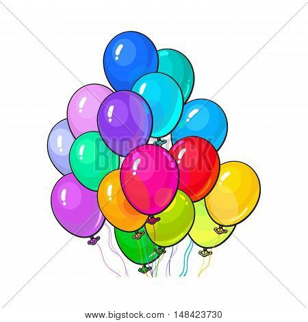 Bunch of bright and colorful balloons, cartoon vector illustration isolated on white background. Bunch of multicolored balloons, birthday, party carnival decoration elements