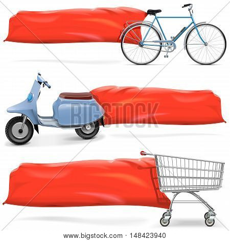 Vector Transport with Banner isolated on white background