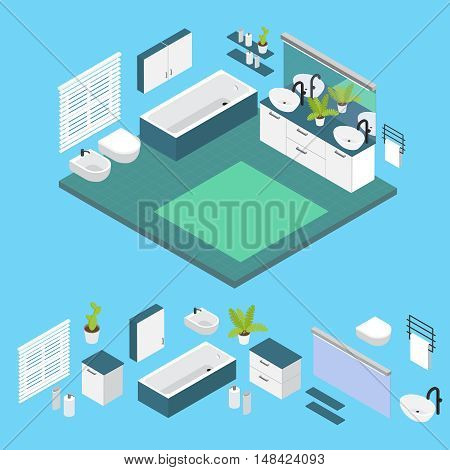 Isometric interior Bathroom layout with isolated colored icon set and combined composition vector illustration