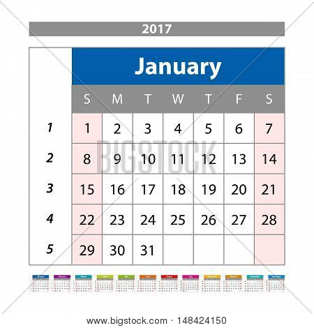 Calendar Planner For 2017 Year. Design Template With Place For Photos And Notes. January. Week Start