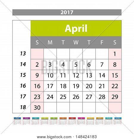 Simple Digital Calendar For April 2017. Vector Printable Calendar. Monthly Scheduler. Week Starts On