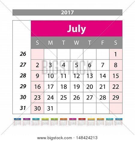 Desk Calendar For 2017 Year. July. Vector Design Print Template With Place For Photo. Week Starts Mo