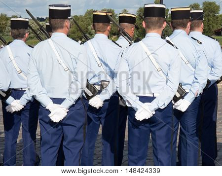 Military parade during the ceremonial of french national day