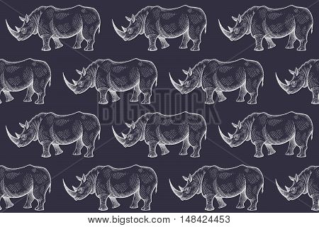 Old engraving rhinoceros. Vector illustration seamless pattern. White and black. African animals.