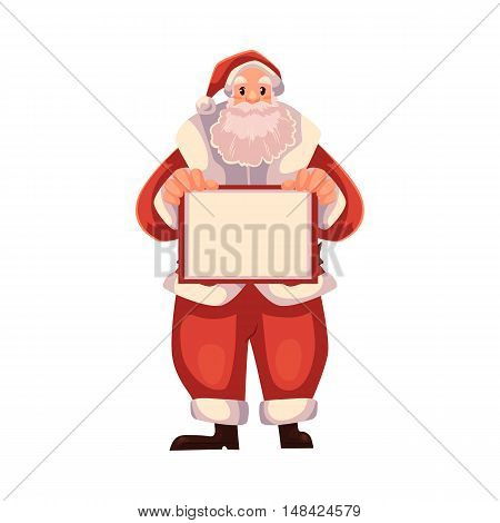 Santa Claus holding a blank board, cartoon style vector illustrations isolated on white background. Santa Claus with an empty sign, Christmas decoration element, template for text