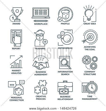 Coworking monochrome linear icons with company structure and workplace achievement of goals and training isolated vector illustration