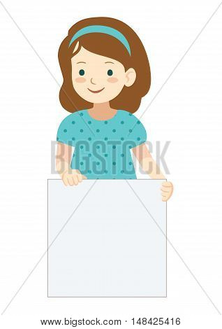 Vector hand drawn cartoon character illustration of a cute little girl standing holding up a blank sign. Editable text sign template design element in contemporary flat vector style.
