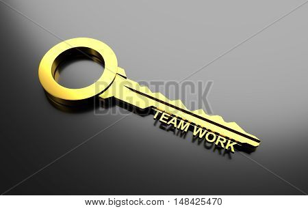 Business concept, Golden key with word Team work. 3D Illustration
