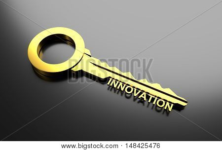 Business concept, Golden key with word innovation. 3D Illustration