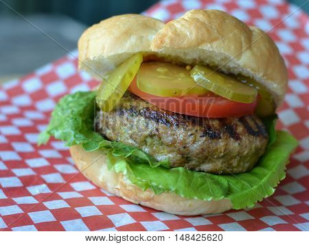Turkey burger on a kaiser bun with lettuce, tomato slice and pickles. Side view of burger on red checked paper.