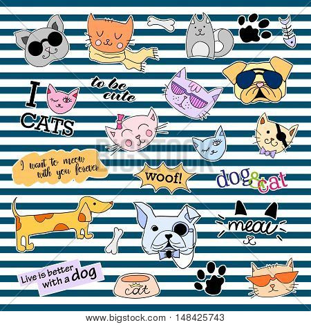 Fashion patch badges. Cats and dogs set. Set of stickers, pins, patches and handwritten notes collection in cartoon 80s-90s comic style. Trend. Vector illustration isolated. Vector clip art.