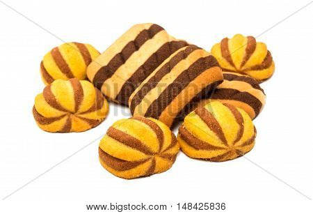 striped biscuit cookies on a white background