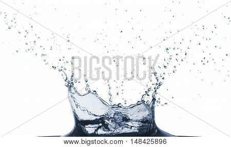 closeup of a water splash isolated over white