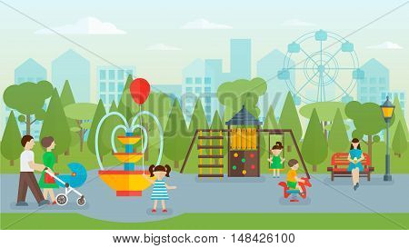 City park flat concept with people on walkway playground and attractions fountain and benches cityscape vector illustration