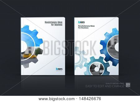 Brochure template layout, cover design annual report, flyer, leaflet in A4 with blue gear and polygonal background with overlap effect for engineering, construction and hi-tech. Set vector.