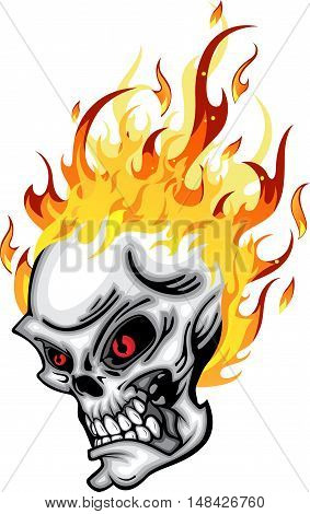 Skull head on Fire red eye with Flames Vector Illustration