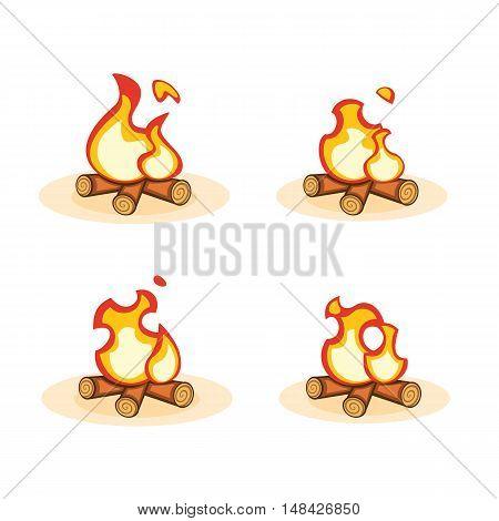 Cartoon vector bonfire with burning fire animation