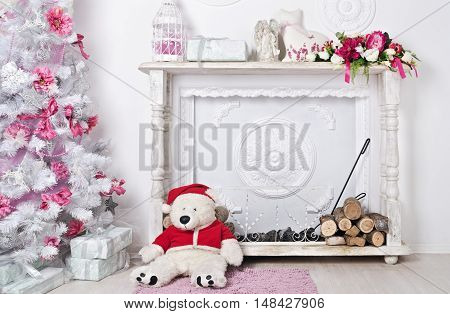 Christmas And New Year Decorated Interior Room With Presents, Fireside And New Year Tree