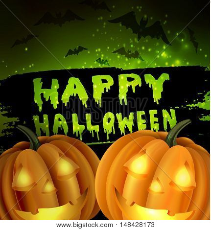 Happy Halloween Calligraphy. Halloween banner. Halloween lettering on a green abstract background with bats two pumpkins with light inside and stars