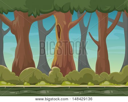 Cartoon seamless forest vector background for smartphone app and computer games. Green wood with trees gui illustration