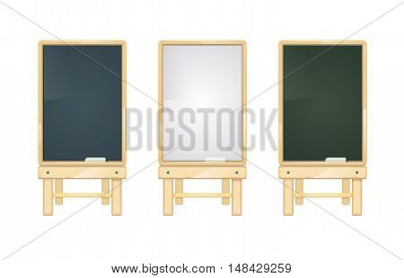 Cartoon black, white and green school blackboards on wooden stand vector set. Chalkboard for interior classroom illustration