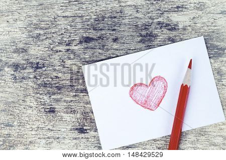 Hand Drawn Red Heart Valentine Card On Rusty Wood Background