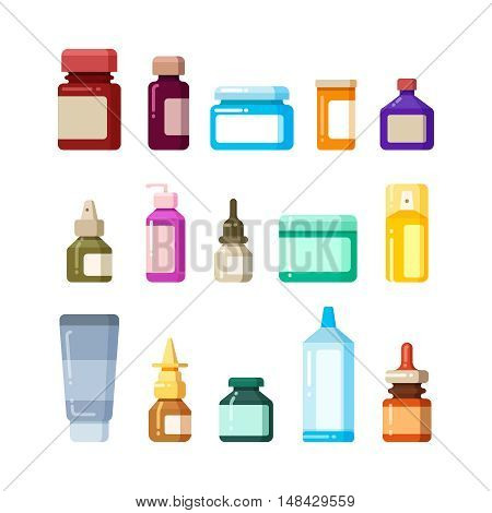Medicine bottles for drugs, pills and vitamins flat vector icons. Vitamin and antibiotic in glass bottle illustration