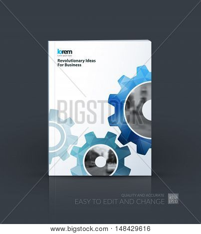 Brochure template layout, cover design annual report, flyer, leaflet in A4 with blue gear and polygonal background with overlap effect for engineering, construction and hi-tech. Creative vector.