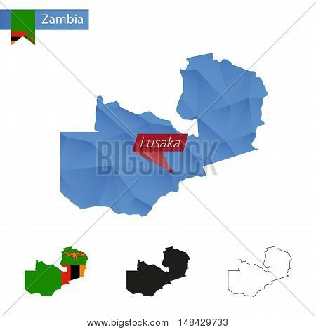 Zambia Blue Low Poly Map With Capital Lusaka.