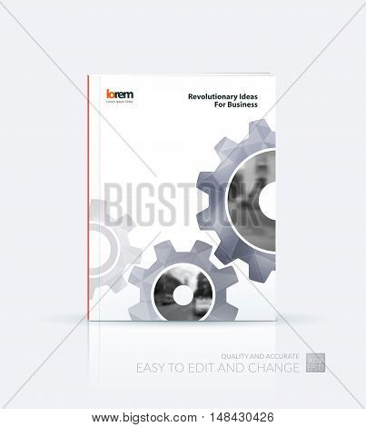 Brochure template layout, cover design annual report, flyer, leaflet in A4 with grey gear and polygonal background with overlap effect for engineering, construction and hi-tech. Creative vector.