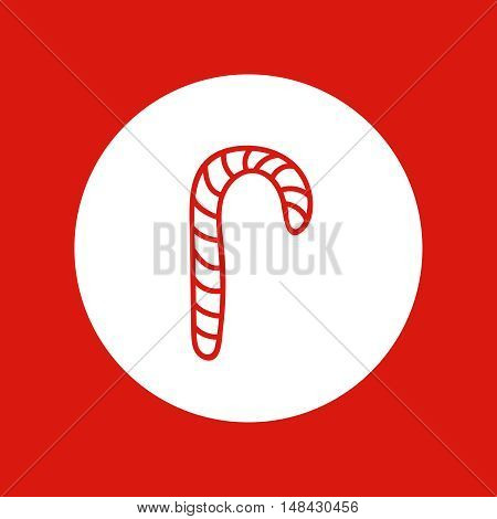 Hand drawn Christmas and New Year icon, vector design element, red line illustration isolated on white. Sweet candy cane, Santa Claus attribute