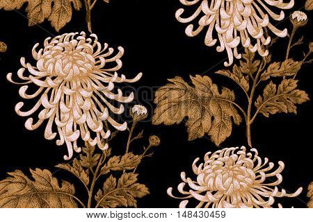 Vector seamless floral pattern. Japanese national flower chrysanthemum. Illustration luxury design textiles paper wallpaper curtains blinds. Gold leaves branch white flowers black background.