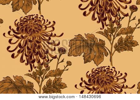 Vector seamless floral pattern. Japanese national flower chrysanthemum. Illustration luxury design textiles paper wallpaper curtains blinds. Leaves branch red flowers on gold background.