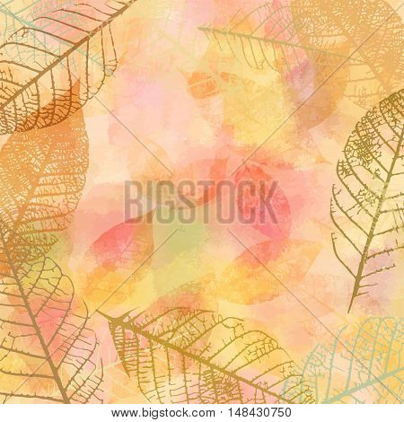 Vector autumn banner design, with a frame made up by skeleton leaves, and copyspace, on golden background texture