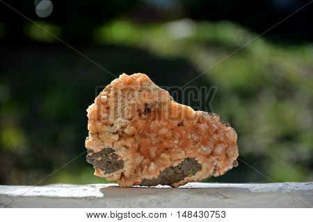 Orange geode mineral stone on white wall in front of a green background
