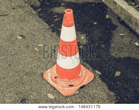 Vintage Looking Traffic Cone Sign