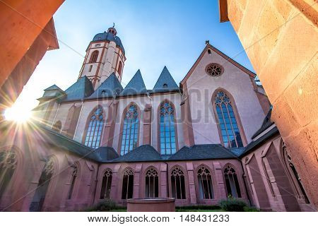 The Church of St. Stephan in Mainz Germany view from the cloister.