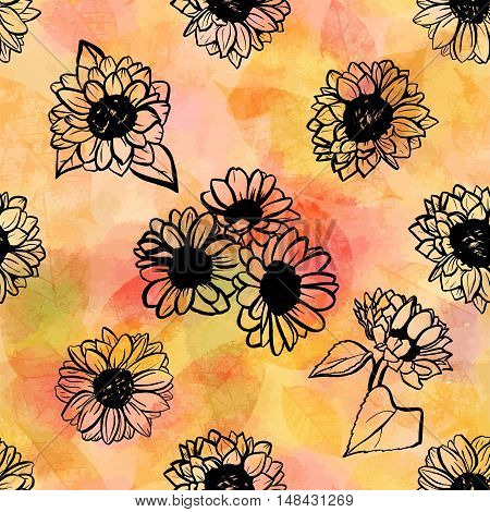 A seamless pattern of freehand vector sunflowers, on the background of abstract golden leaves