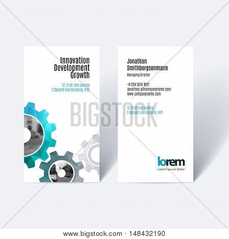 Vector business card template with blue gear and polygonal background for engineering, construction and hi-tech. Simple and clean design. Creative corporate identity layout.