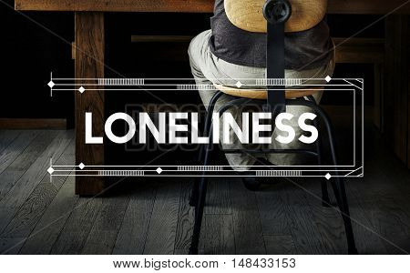 Loneliness Relax Work Space Word Concept