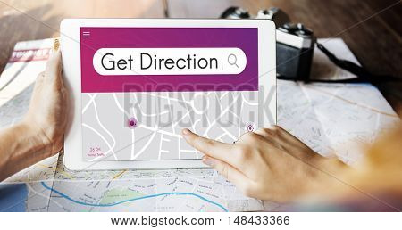Get Direction Navigation GPS Map Destination Concept