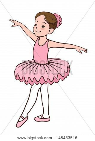 Cartoon vector illustration of a smiling little Caucasian ballerina girl wearing pink leotard tutu and ballet slippers standing gracefully with arms apart and pointed left foot