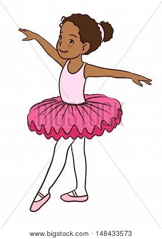 Hand drawn vector character cartoon illustration of a little African-American cute dancing ballerina girl in pink leotard tutu and ballet slippers isolated on white background.