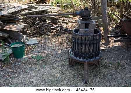 Old wine press on a village, Ukraine